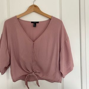 Dusty Pink Button Down Tie Shirt